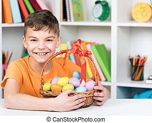 Easter holiday - Cute young boy with basket of Easter eggs