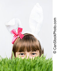 Easter holiday - Beautiful little girl dressed in Easter...