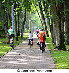 path in park - Cyclists ride along bike path in park