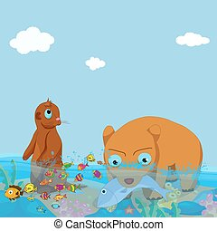 bears and otter fishing in the sea