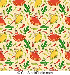 mexican woman pattern - funny vector seamless pattern with...