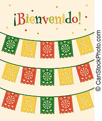 mexican flags - template with hanging traditional mexican...