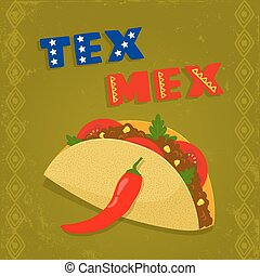 tex mex taco - texas mexican cuisine menu template with...