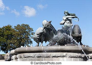 Gefion Fountain Detail - Gefion Fountain at Copenhagen...