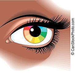 eye with color pallette as graphic background