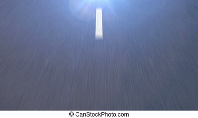 White dotted line on the Asphalt road goes to a Bright Light...