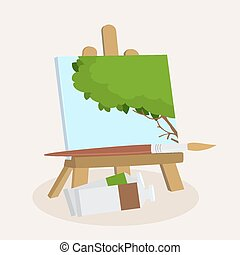 Artists easel with a displayed pain - Artists wooden easel...