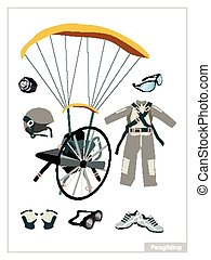 Set of Paraglider Equipment on White Background -...