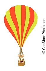 Yellow and Orange Parachute on White Background -...