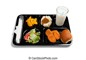 A black school lunch tray on a white background - A black...