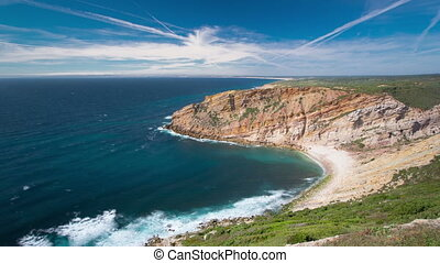 View of the beautiful coastline near Cape Espichel, Sesimbra, Portugal timelapse
