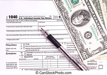 Tax form and Money Filling the forms and hoping for a tax...