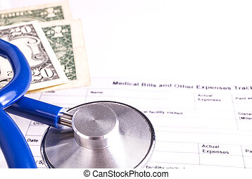 Medical Bill Statement with Stethoscope and Money, All text...