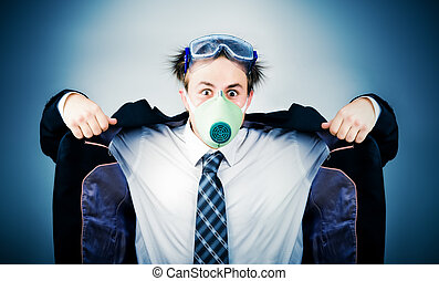 Crazy businessman in protective mask. On soft blue...