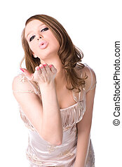 Slim woman showing kiss sign