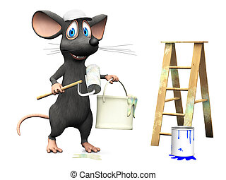 Smiling cartoon mouse working as a painter.