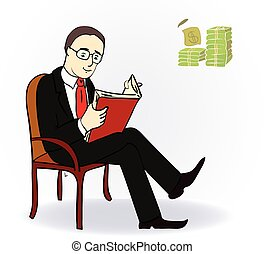businessman with a book near the table with money. Vector...