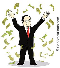 businessman throwing bank notes. Vector illustration of old...