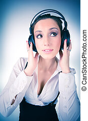 Young woman with big headphones