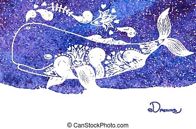 Watercolor Card Dreams with Beautiful Whale Vector...