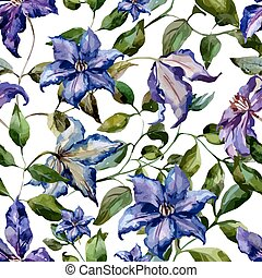 Clematis flower pattern - Beautiful vector pattern with nice...