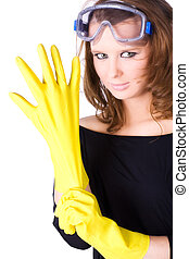 Woman worker with yellow rubber gloves Isolated on white