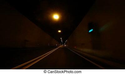 Fast Car driving through tunnel