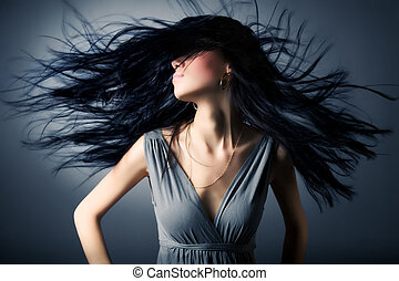 mulher, vibrar, cabelo