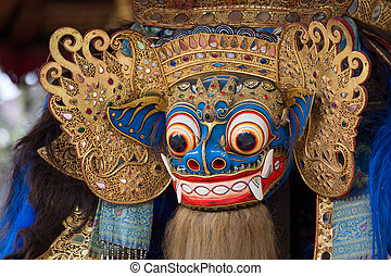 Closeup of traditional Balinese God statue in Central Bali...