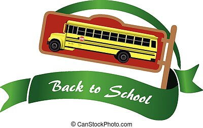 Back to School - Symbol with yellow school bus, back to...