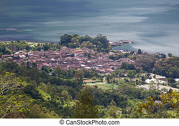 View in Danau Batur lake near volcano Batur, Bali, Indonesia