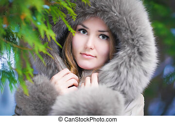 Woman in forest portrait