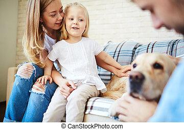 Looking at dog