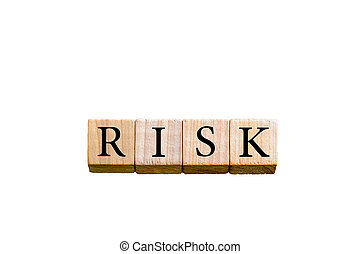 Word RISK isolated on white background with copy space -...