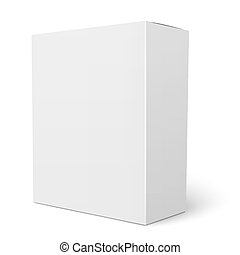 White vertical cardboard box template - Blank vertical paper...