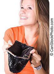 No money in a purse. Young woman isolated on white.