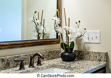 Orchids on Granite Bath Countertop - Modern, decorated...