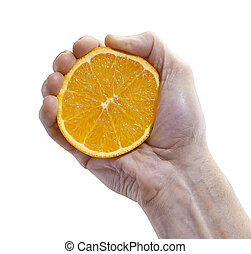Half Fresh Orange hold by Male Hand isolated with clipping...