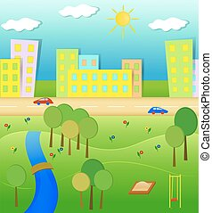 Idyllic landscape illustration