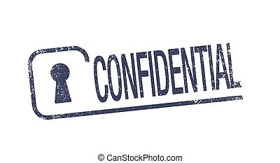 Confidential ink pad - Vector illustration of blue...