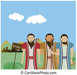 Jesus appeared to two disciples on the road to Emmaus.