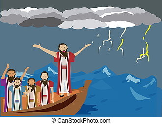 Wind and the sea obey Jesus - While Jesus and disciples...