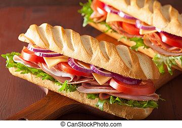 largo, baguette, emparedado, con, jamón, queso,...