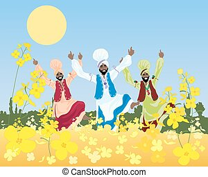 punjabi harvest - a vector illustration of three male...