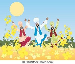 punjabi harvest - a vector illustration of three male...
