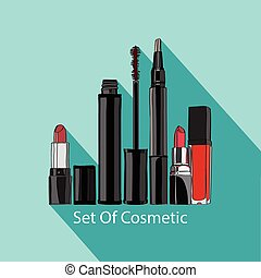 set of cosmetics: mascara, concealer, lip gloss and a few...