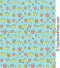 Seamless vector pattern of the crown princess in a childrens...