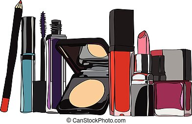 set of cosmetics - lipstick, lip gloss, powder, mascara...