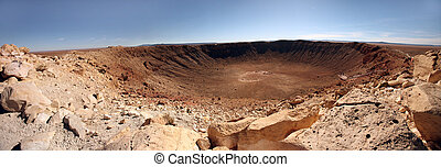 Desert Landscape With Crater - Panoramic view of desert...