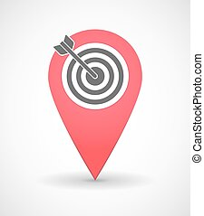 Map mark icon with a dart board - Illustration of a map mark...